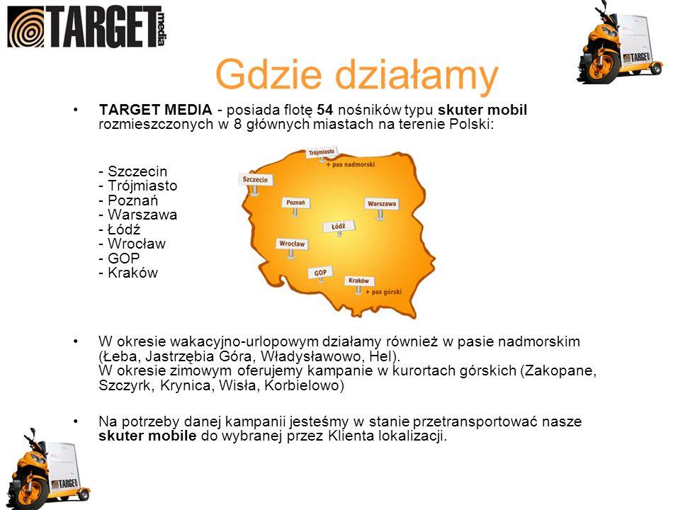 Gdzie działamy TARGET MEDIA - posiada flotę 54 nośników typu skuter mobil rozmieszczonych w 8 głównych miastach na terenie Polski: