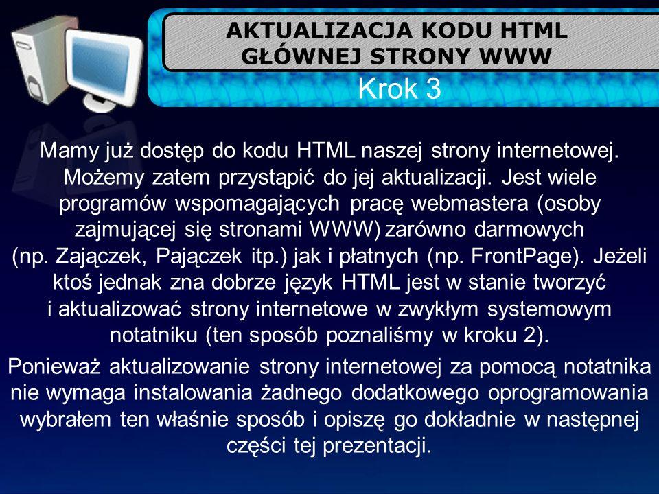 AKTUALIZACJA KODU HTML GŁÓWNEJ STRONY WWW