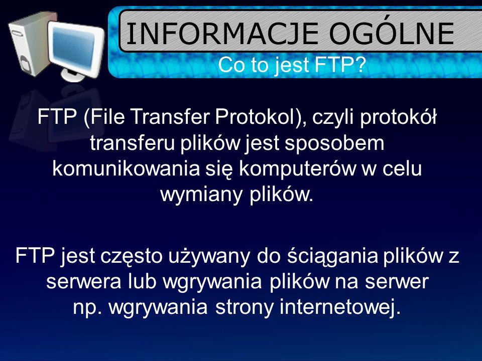 INFORMACJE OGÓLNE Co to jest FTP
