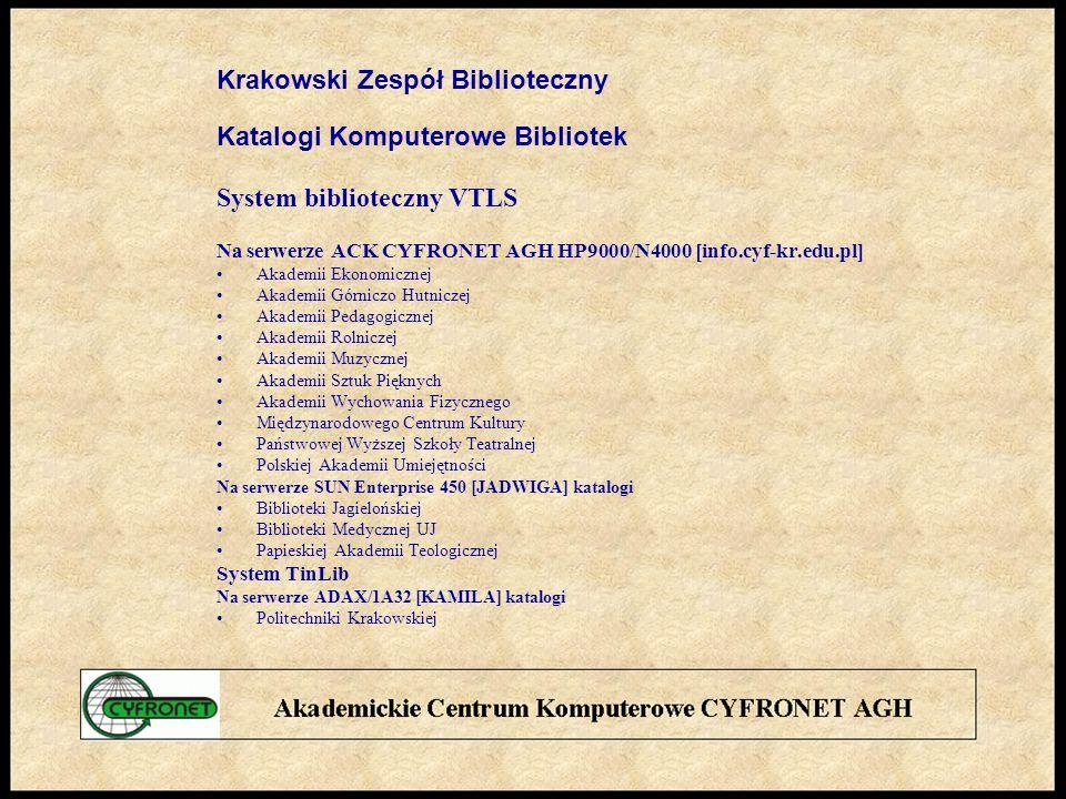 Krakowski Zespół Biblioteczny Katalogi Komputerowe Bibliotek