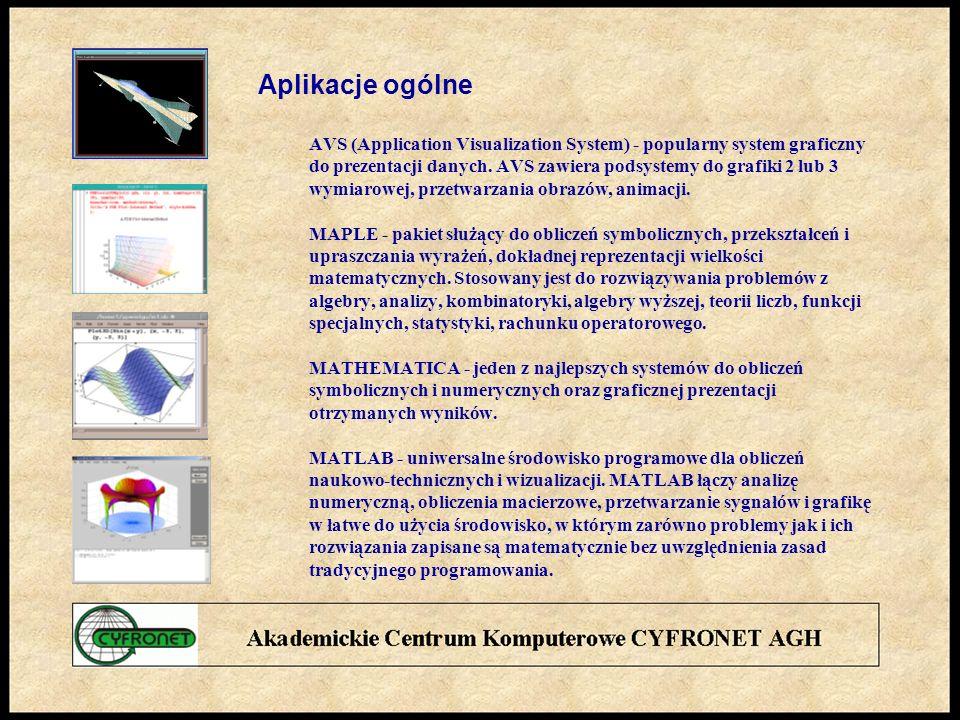 Aplikacje ogólne AVS (Application Visualization System) - popularny system graficzny do prezentacji danych.