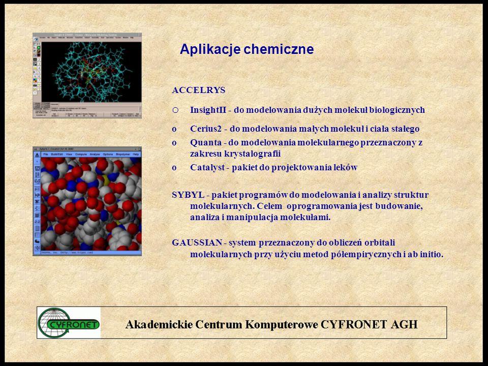 Aplikacje chemiczne ACCELRYS. o InsightII - do modelowania dużych molekuł biologicznych. o Cerius2 - do modelowania małych molekuł i ciała stałego.