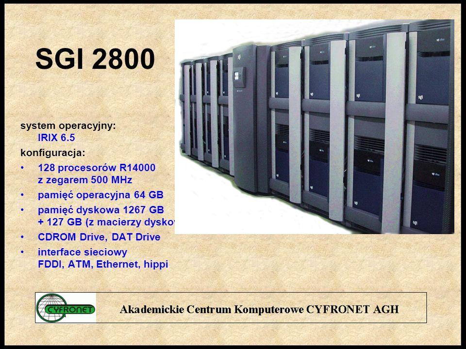 SGI 2800 system operacyjny: IRIX 6.5 konfiguracja: