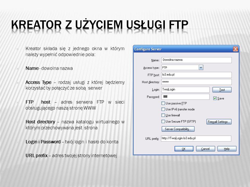 Kreator z użyciem usługi FTP