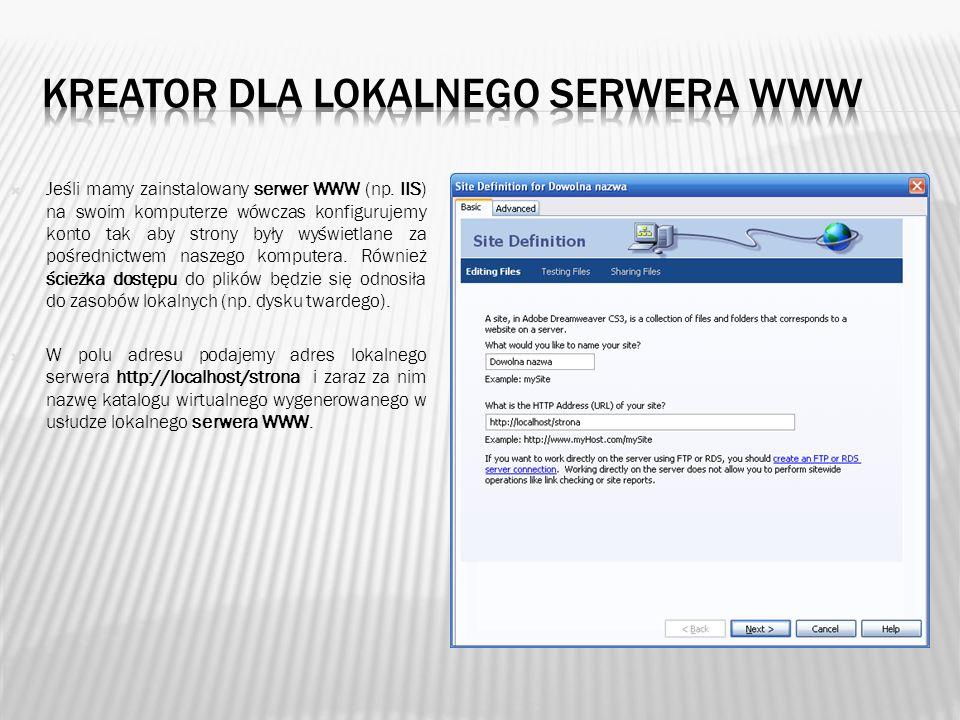 Kreator dla lokalnego serwera www