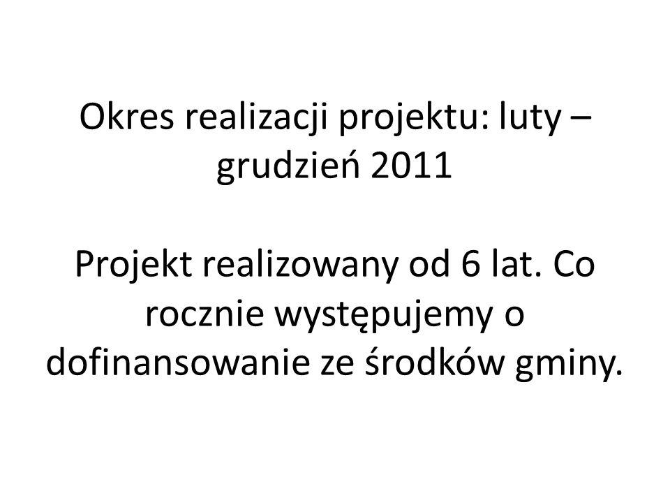 Okres realizacji projektu: luty – grudzień 2011 Projekt realizowany od 6 lat.