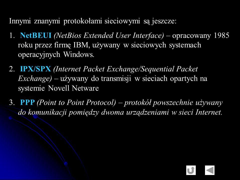 Innymi znanymi protokołami sieciowymi są jeszcze: