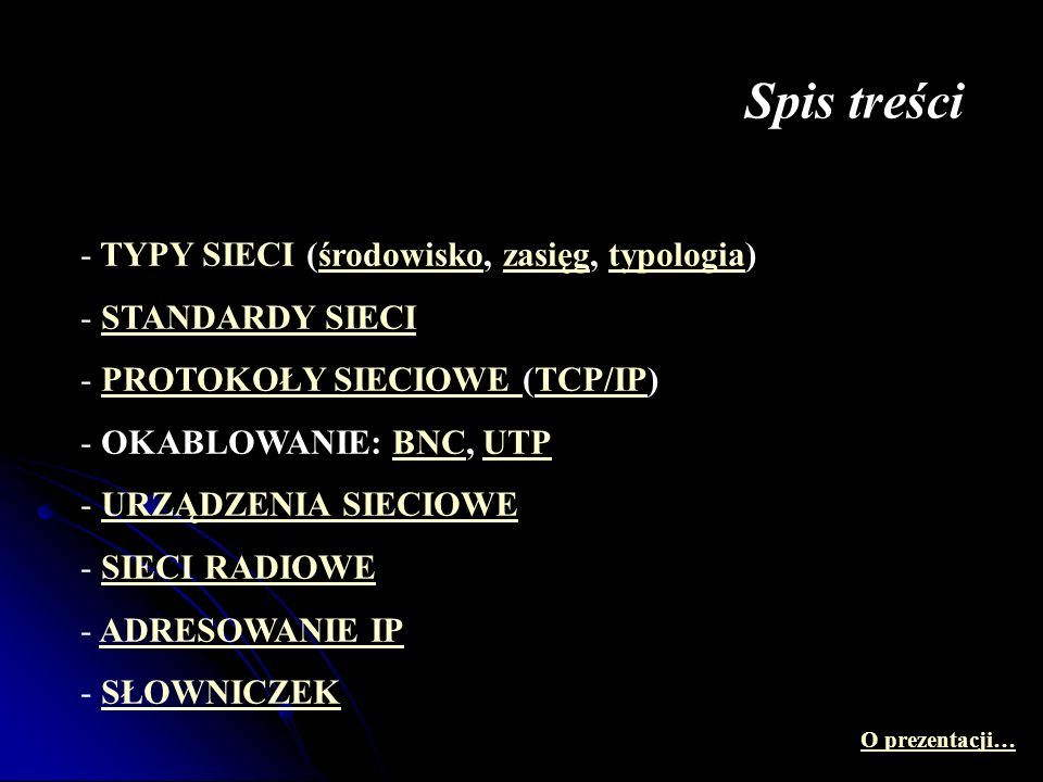 Spis treści TYPY SIECI (środowisko, zasięg, typologia) STANDARDY SIECI