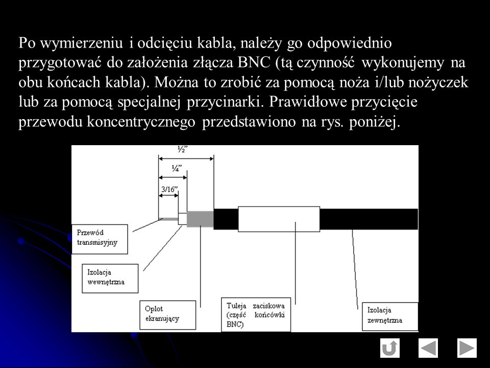 Po wymierzeniu i odcięciu kabla, należy go odpowiednio przygotować do założenia złącza BNC (tą czynność wykonujemy na obu końcach kabla).