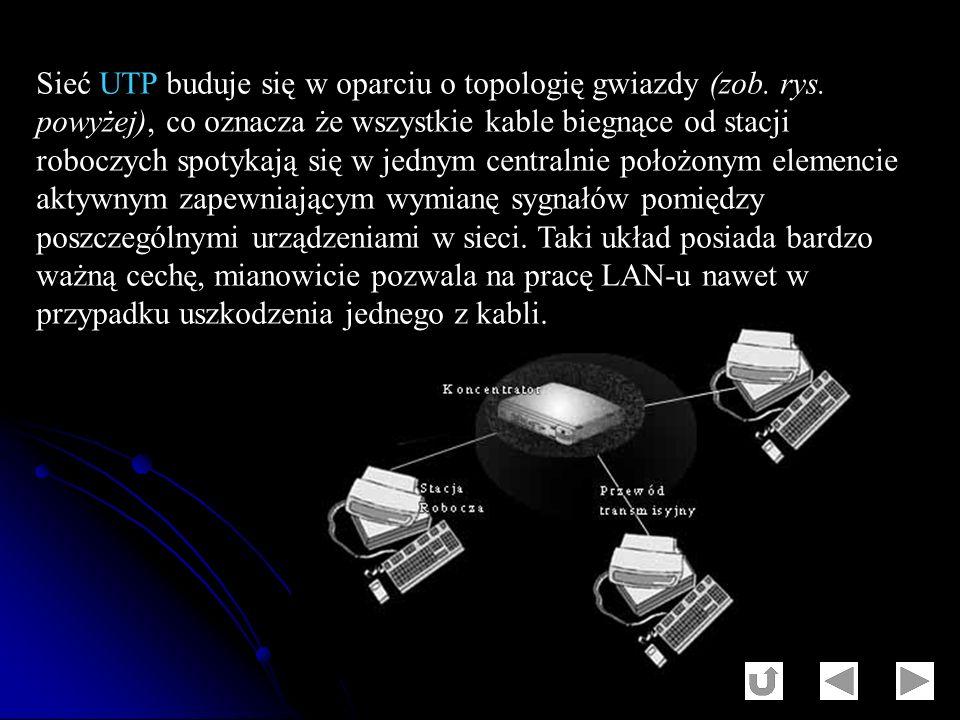 Sieć UTP buduje się w oparciu o topologię gwiazdy (zob. rys