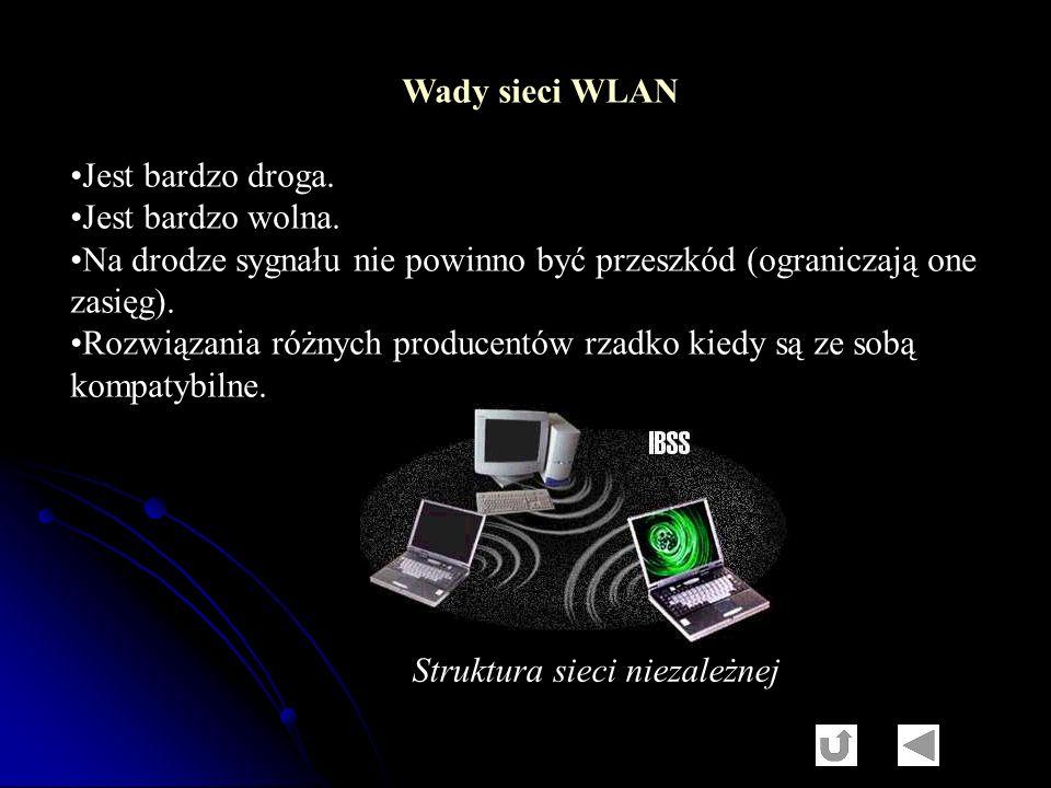 Wady sieci WLAN Jest bardzo droga. Jest bardzo wolna. Na drodze sygnału nie powinno być przeszkód (ograniczają one.