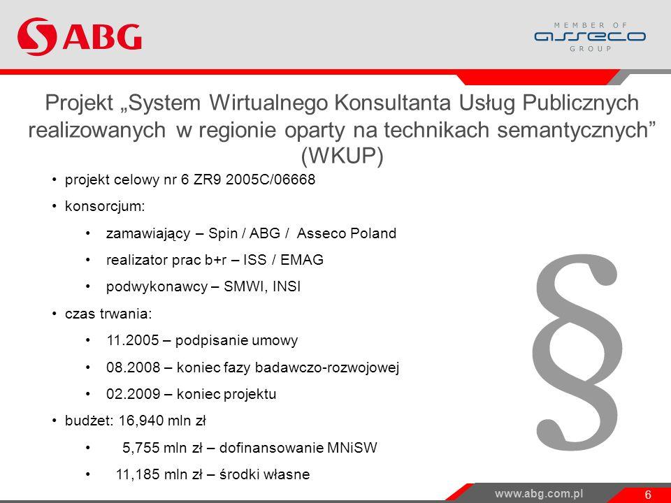 """Projekt """"System Wirtualnego Konsultanta Usług Publicznych realizowanych w regionie oparty na technikach semantycznych (WKUP)"""