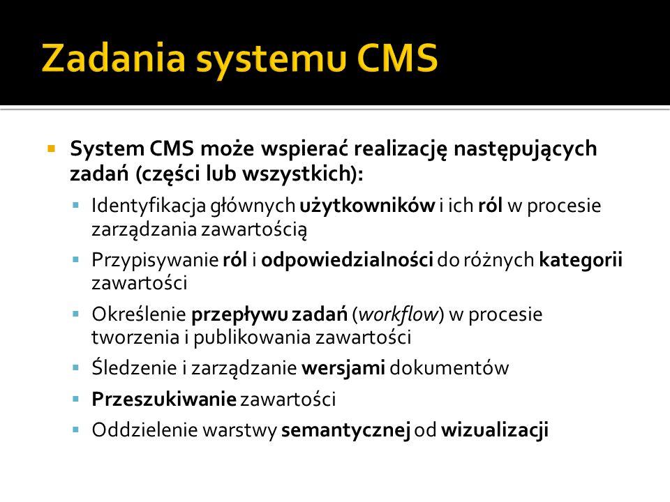 Zadania systemu CMS System CMS może wspierać realizację następujących zadań (części lub wszystkich):