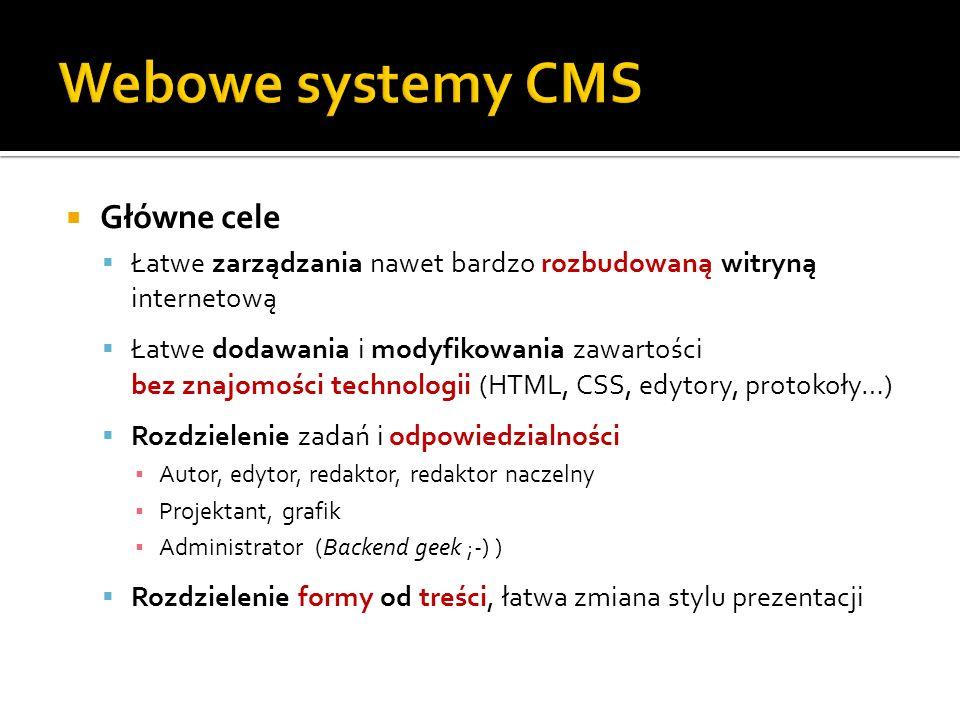 Webowe systemy CMS Główne cele