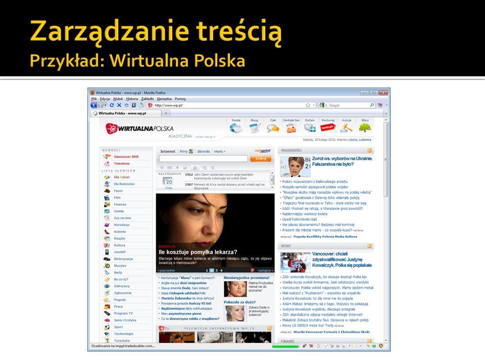 Zarządzanie treścią Przykład: Wirtualna Polska