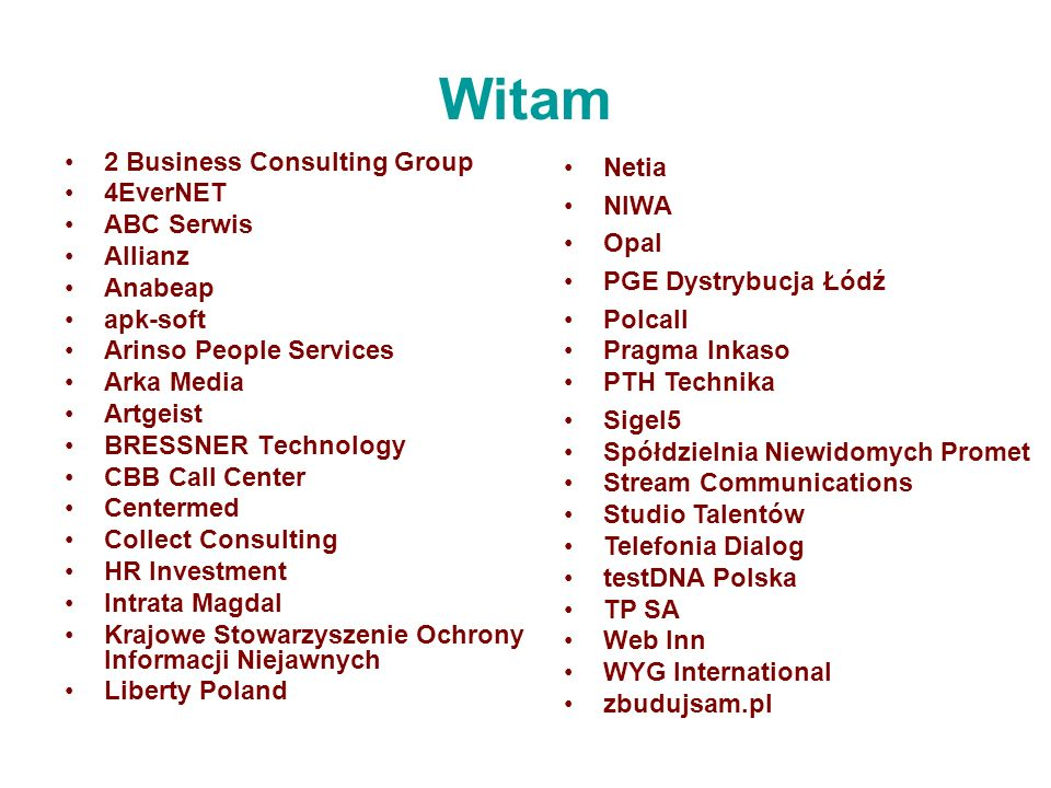 Witam 2 Business Consulting Group 4EverNET ABC Serwis Allianz Anabeap