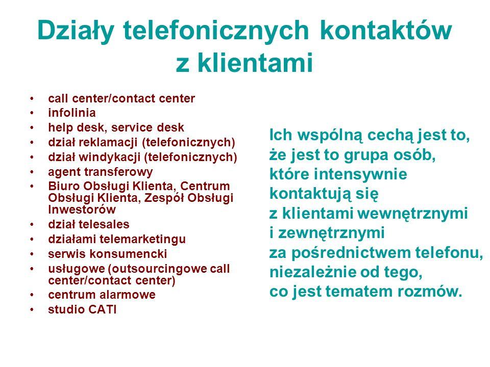 Działy telefonicznych kontaktów z klientami