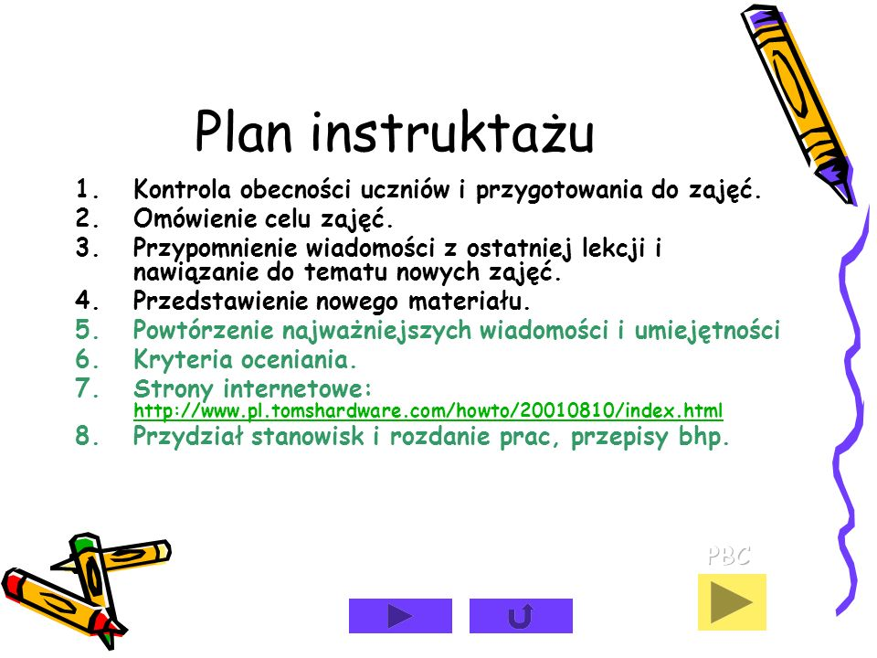 Plan instruktażu Kontrola obecności uczniów i przygotowania do zajęć.