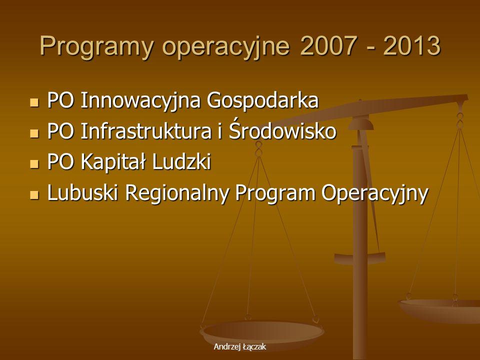 Programy operacyjne 2007 - 2013 PO Innowacyjna Gospodarka