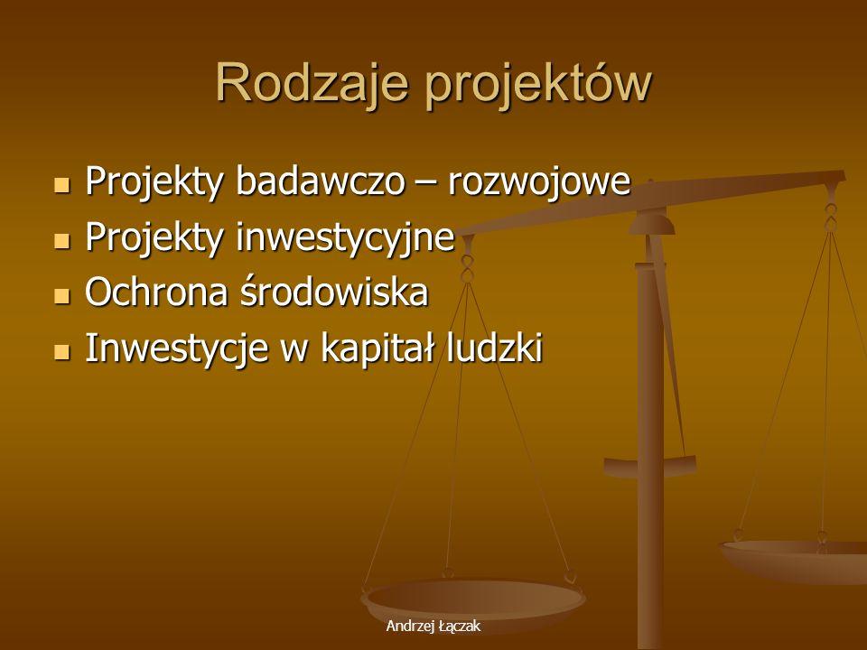 Rodzaje projektów Projekty badawczo – rozwojowe Projekty inwestycyjne