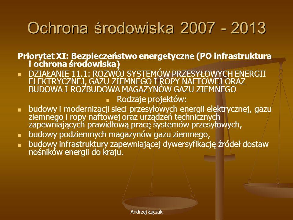 Ochrona środowiska 2007 - 2013 Priorytet XI: Bezpieczeństwo energetyczne (PO infrastruktura i ochrona środowiska)