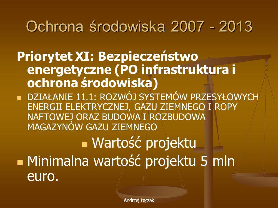 Ochrona środowiska 2007 - 2013 Wartość projektu