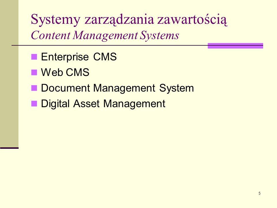 Systemy zarządzania zawartością Content Management Systems