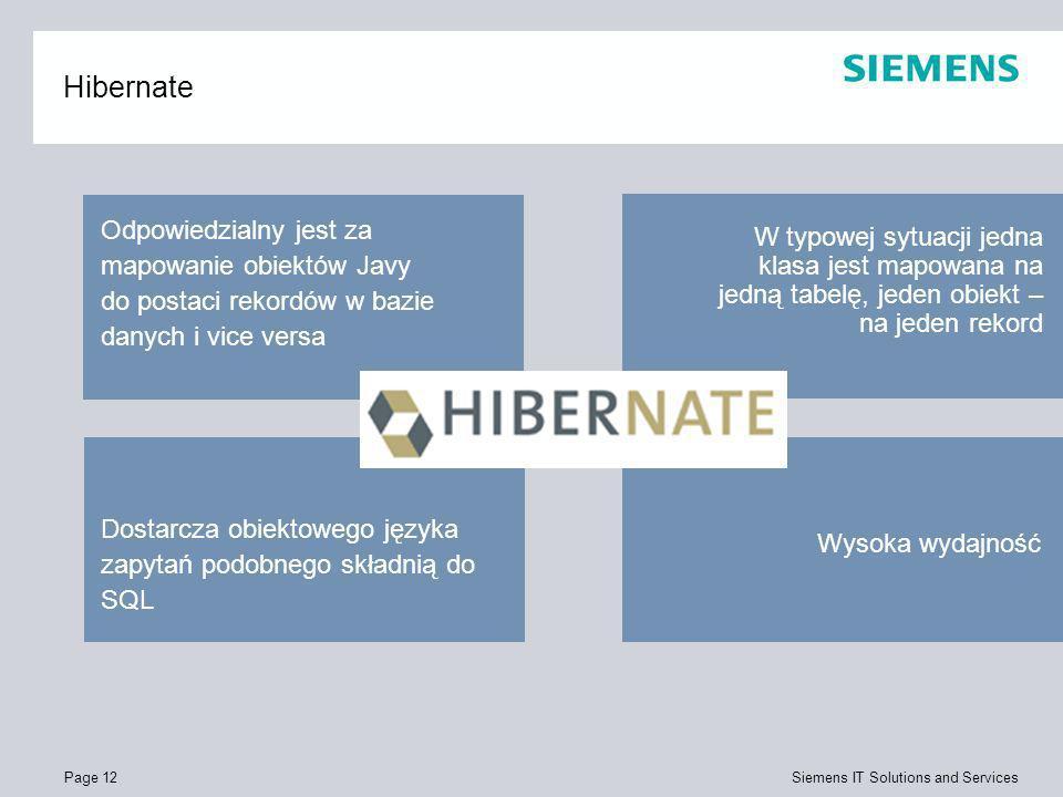 Hibernate Odpowiedzialny jest za mapowanie obiektów Javy do postaci rekordów w bazie danych i vice versa.