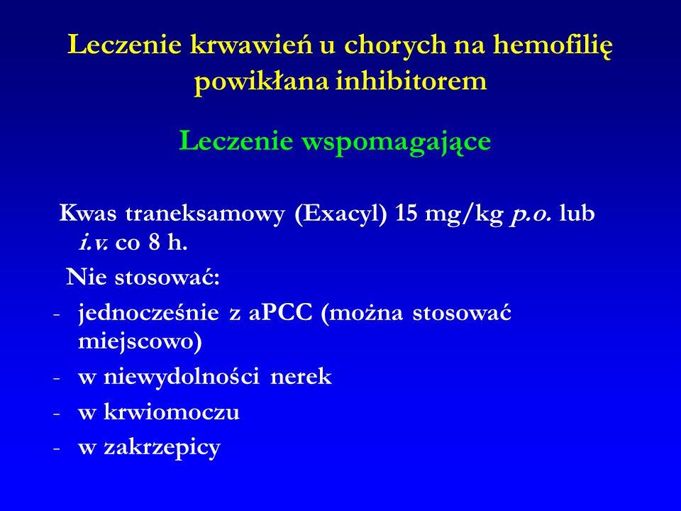 Leczenie krwawień u chorych na hemofilię powikłana inhibitorem