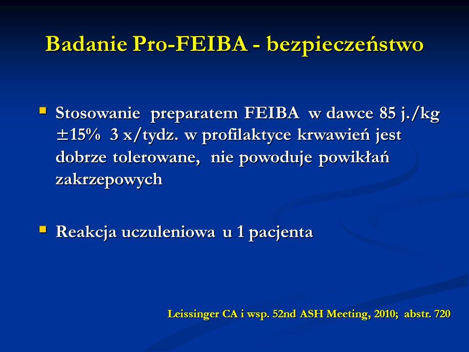 Badanie Pro-FEIBA - bezpieczeństwo