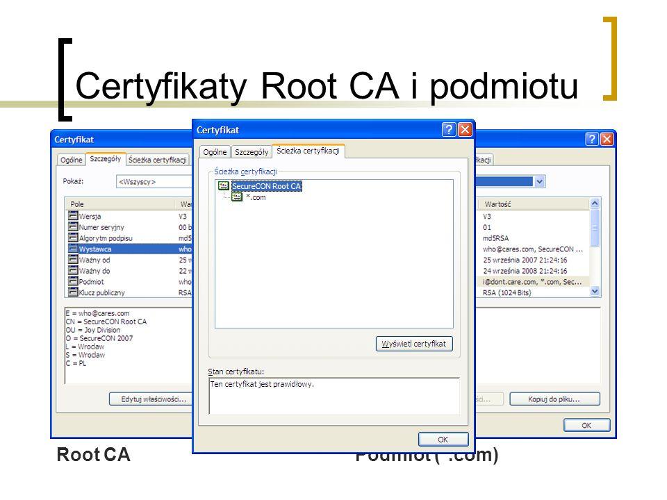 Certyfikaty Root CA i podmiotu