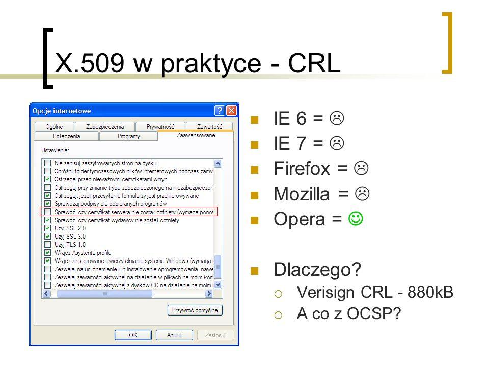 X.509 w praktyce - CRL IE 6 =  IE 7 =  Firefox =  Mozilla = 