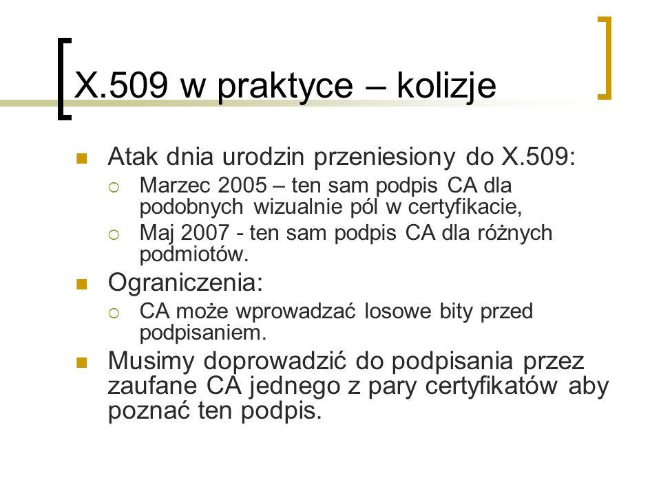 X.509 w praktyce – kolizje Atak dnia urodzin przeniesiony do X.509: