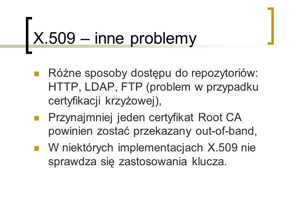 X.509 – inne problemy Różne sposoby dostępu do repozytoriów: HTTP, LDAP, FTP (problem w przypadku certyfikacji krzyżowej),