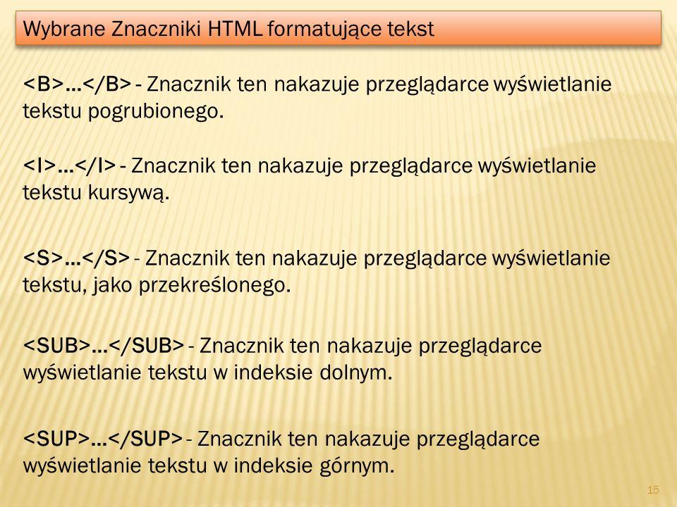 Wybrane Znaczniki HTML formatujące tekst