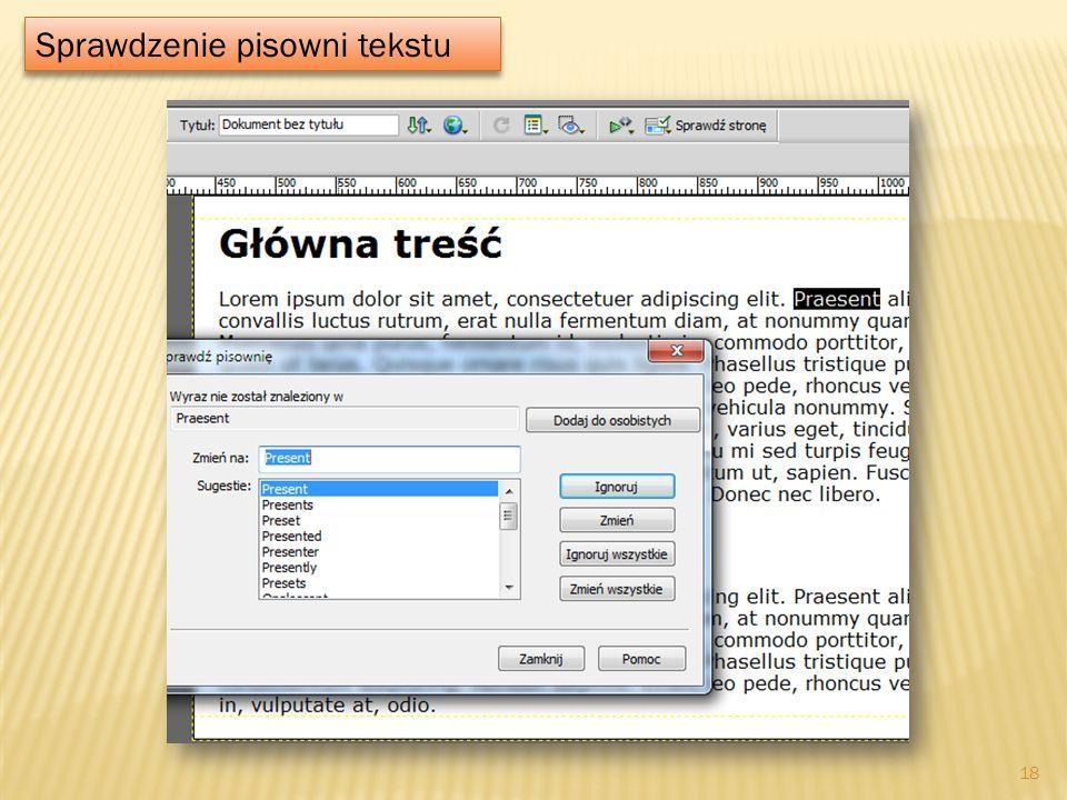 Sprawdzenie pisowni tekstu