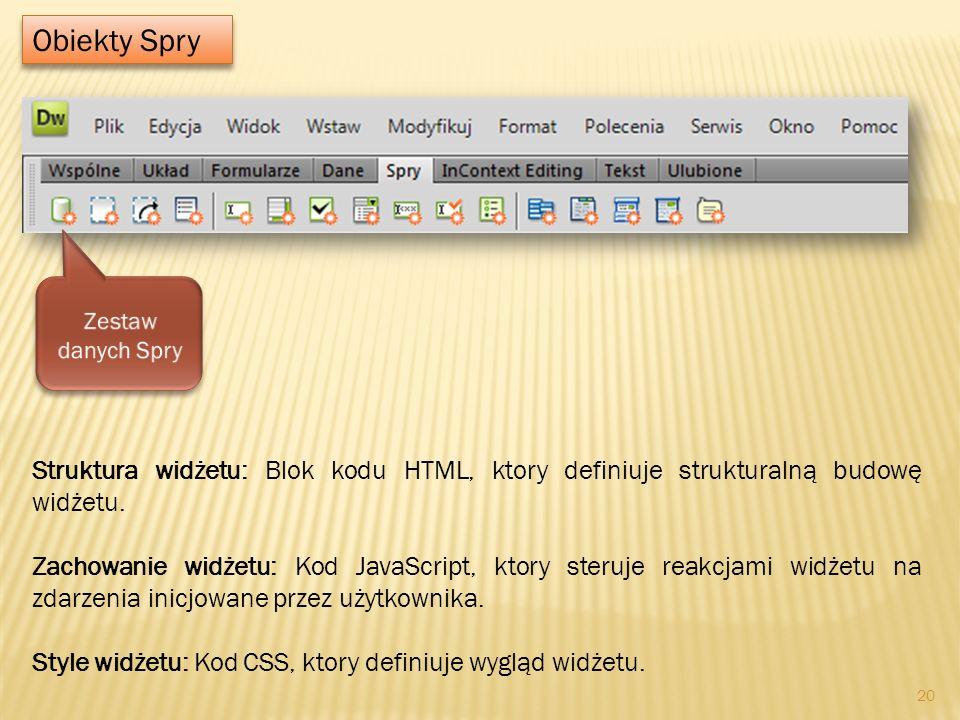 Obiekty Spry Zestaw danych Spry. Struktura widżetu: Blok kodu HTML, ktory definiuje strukturalną budowę widżetu.