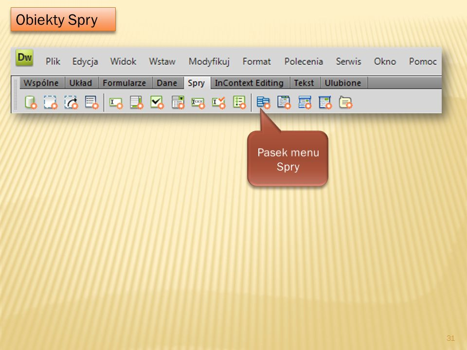 Obiekty Spry Pasek menu Spry