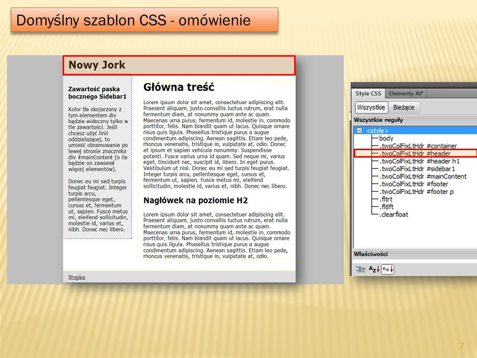 Domyślny szablon CSS - omówienie