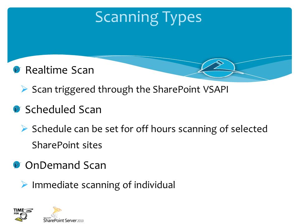 Scanning Types Realtime Scan Scheduled Scan OnDemand Scan