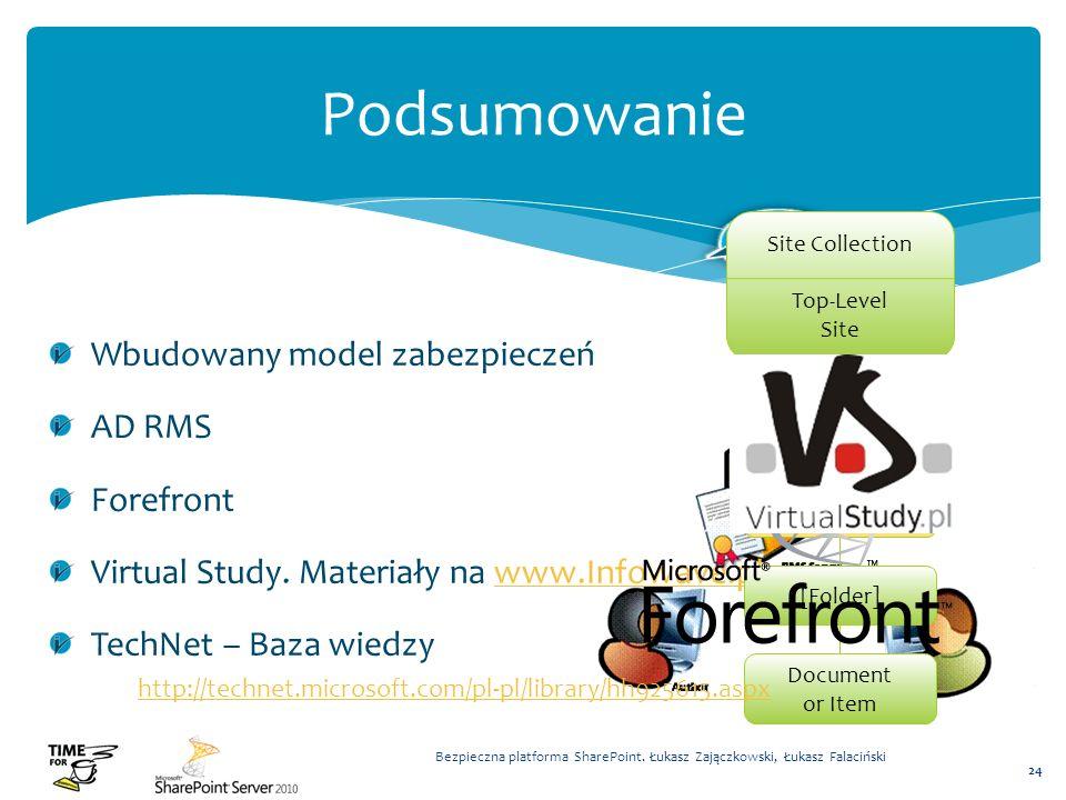 Podsumowanie Wbudowany model zabezpieczeń AD RMS Forefront