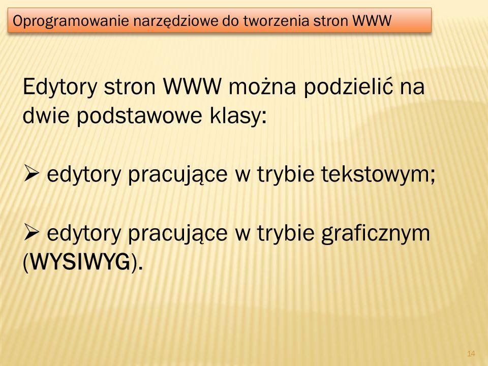 Edytory stron WWW można podzielić na dwie podstawowe klasy: