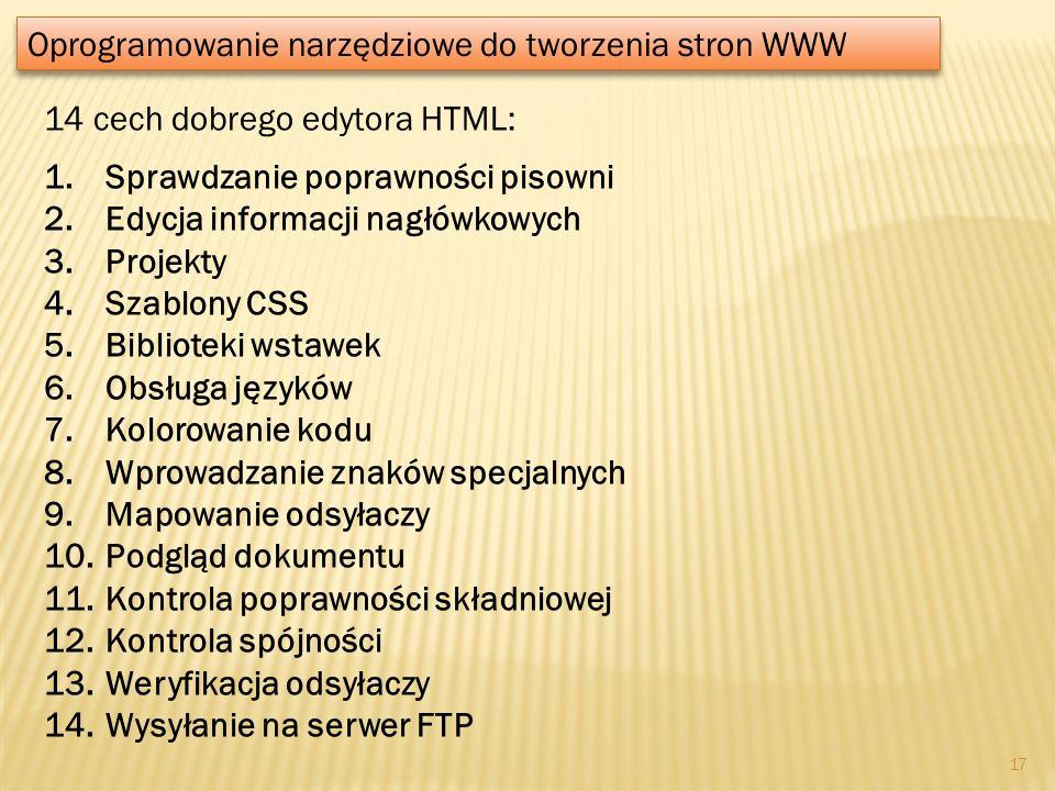 Oprogramowanie narzędziowe do tworzenia stron WWW