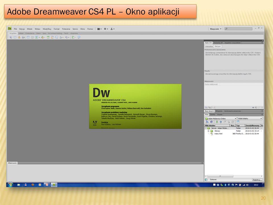 Adobe Dreamweaver CS4 PL – Okno aplikacji