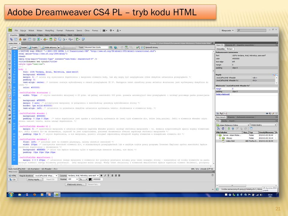 Adobe Dreamweaver CS4 PL – tryb kodu HTML