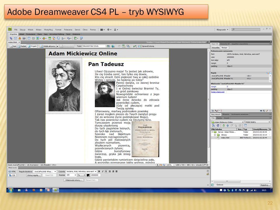 Adobe Dreamweaver CS4 PL – tryb WYSIWYG
