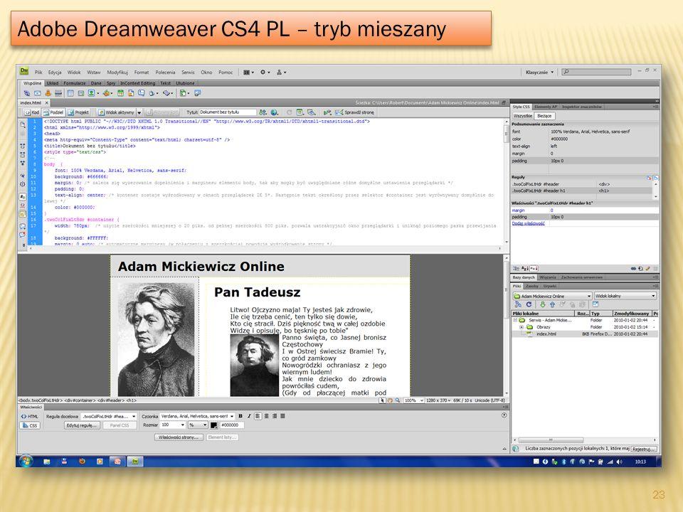 Adobe Dreamweaver CS4 PL – tryb mieszany