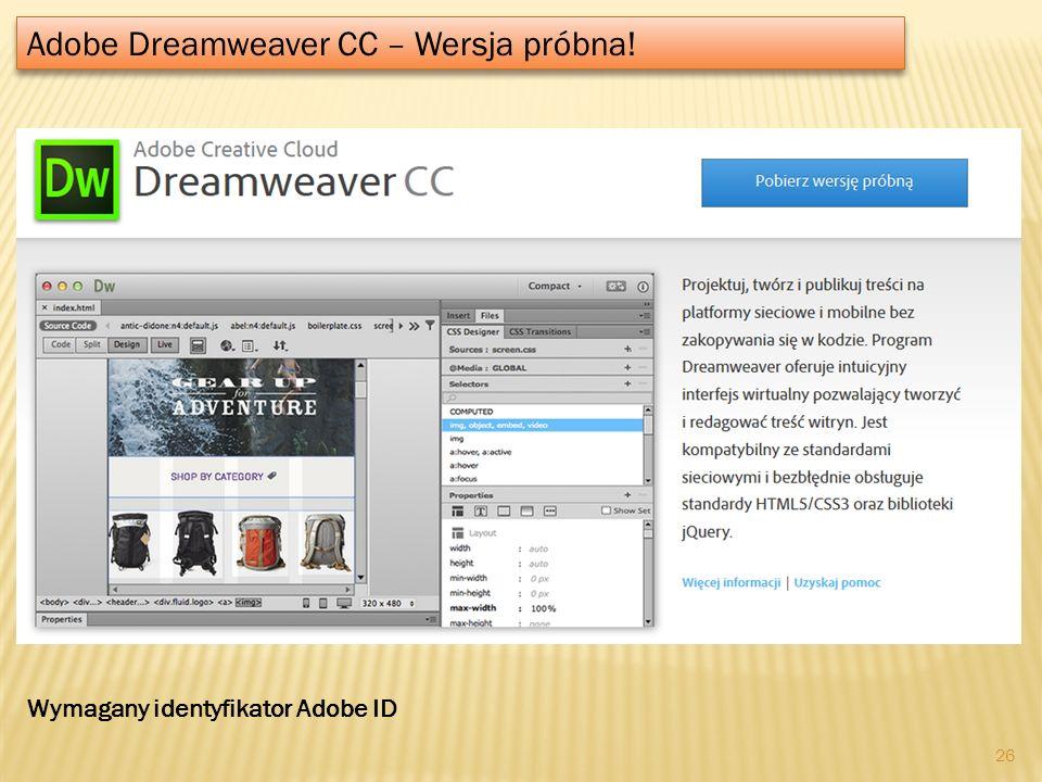 Adobe Dreamweaver CC – Wersja próbna!