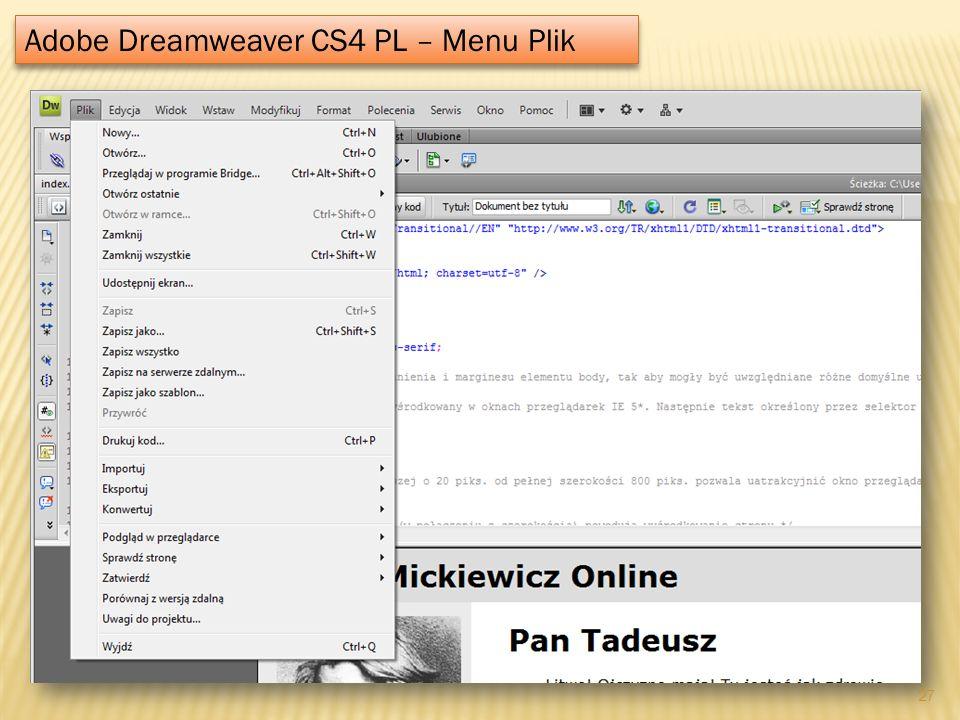 Adobe Dreamweaver CS4 PL – Menu Plik