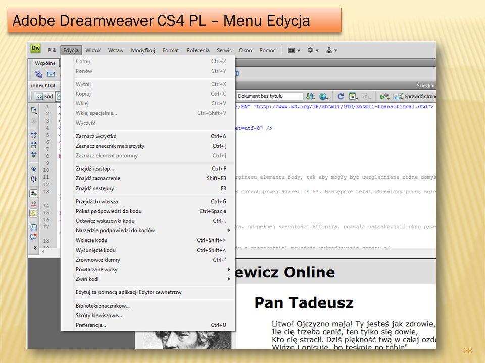 Adobe Dreamweaver CS4 PL – Menu Edycja